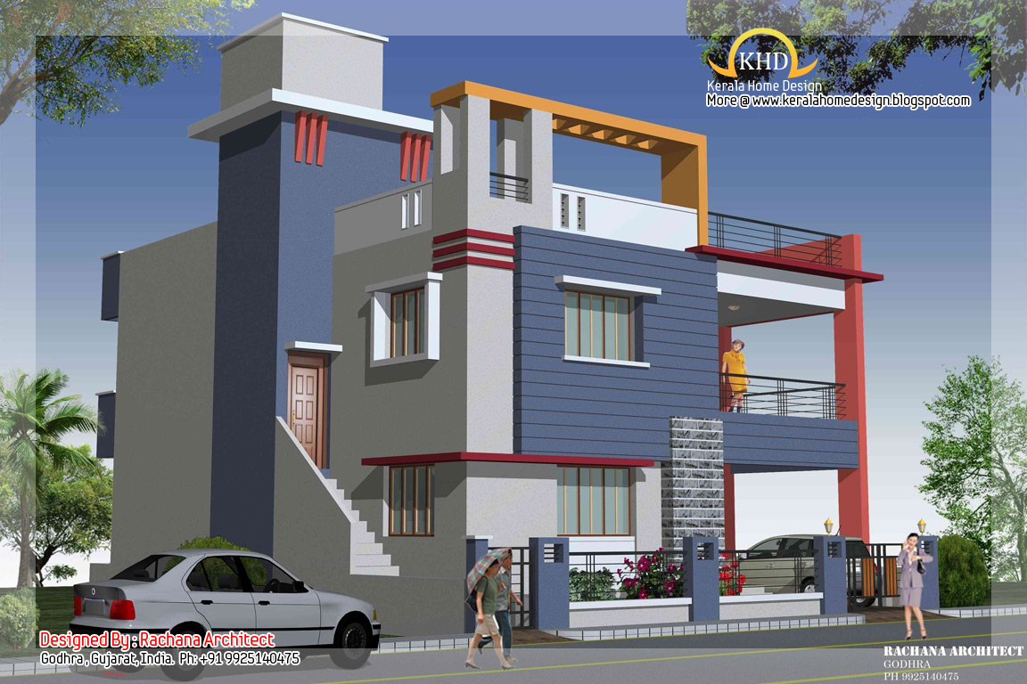 Duplex house plan and elevation 2349 sq ft kerala for Duplex house front elevation pictures