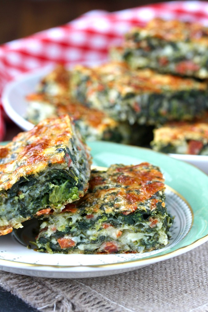 Pepperoni Pizza Spinach Squares | Karen's Kitchen Stories