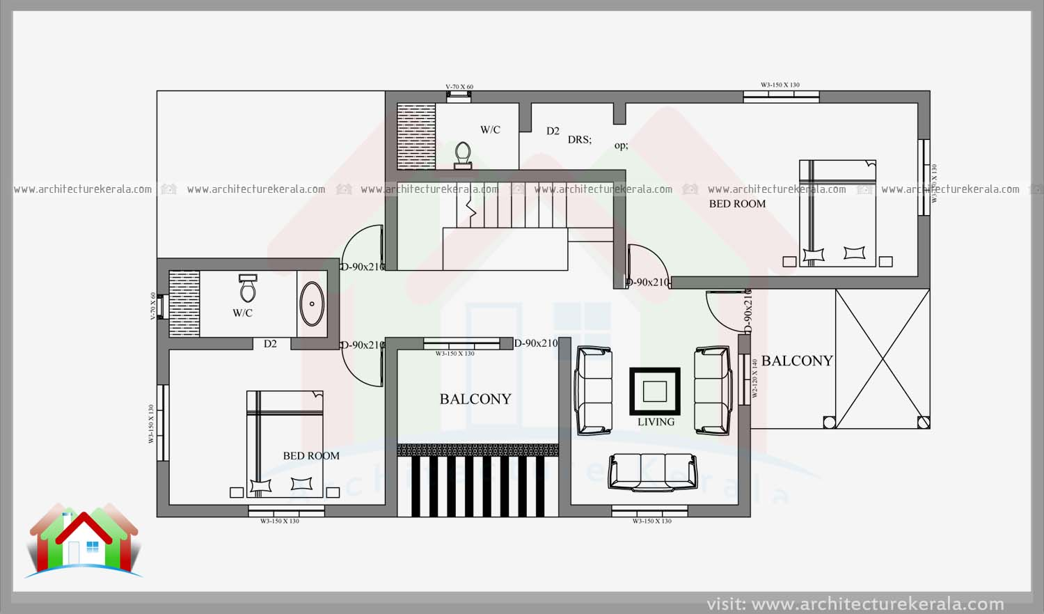 Stylish 4 bedroom small plot home design with free plan for Home plot plan