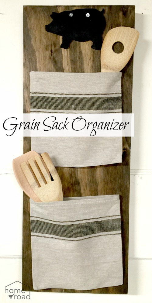 Grain Sack Bag Organizer with wooden spoons, a pig and an overlay