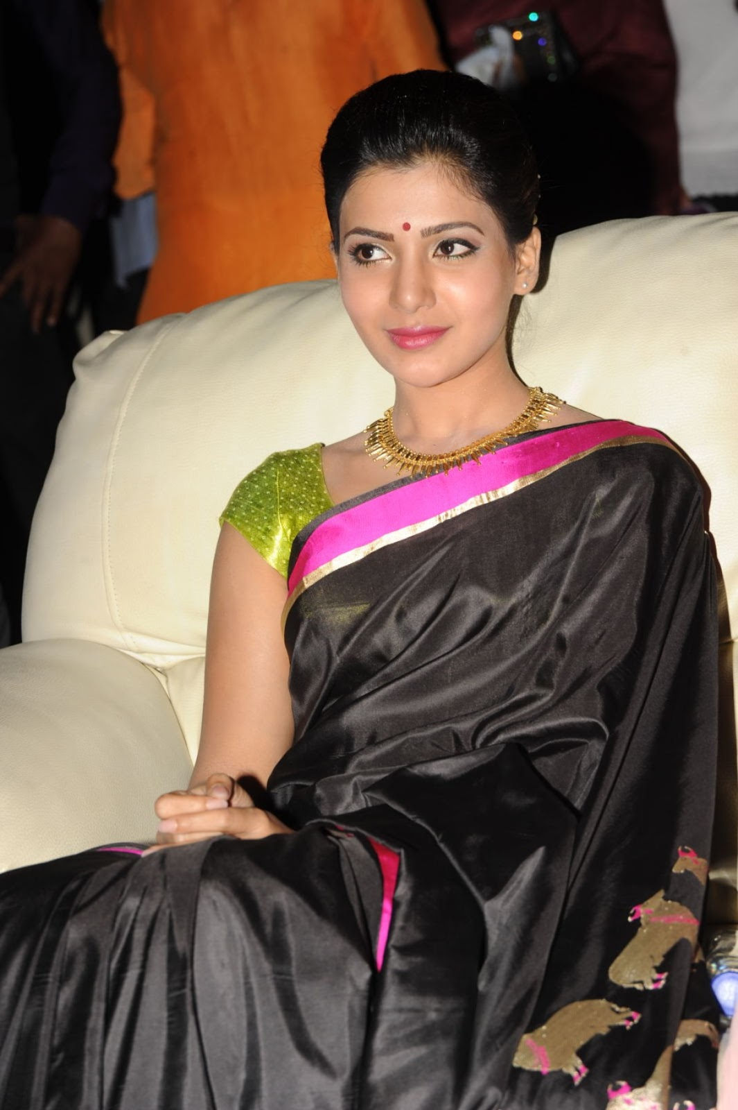 glamorous telugu actress samantha stills in black saree - indian
