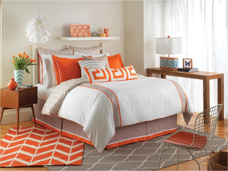 Orange and Grey Bedding Sets
