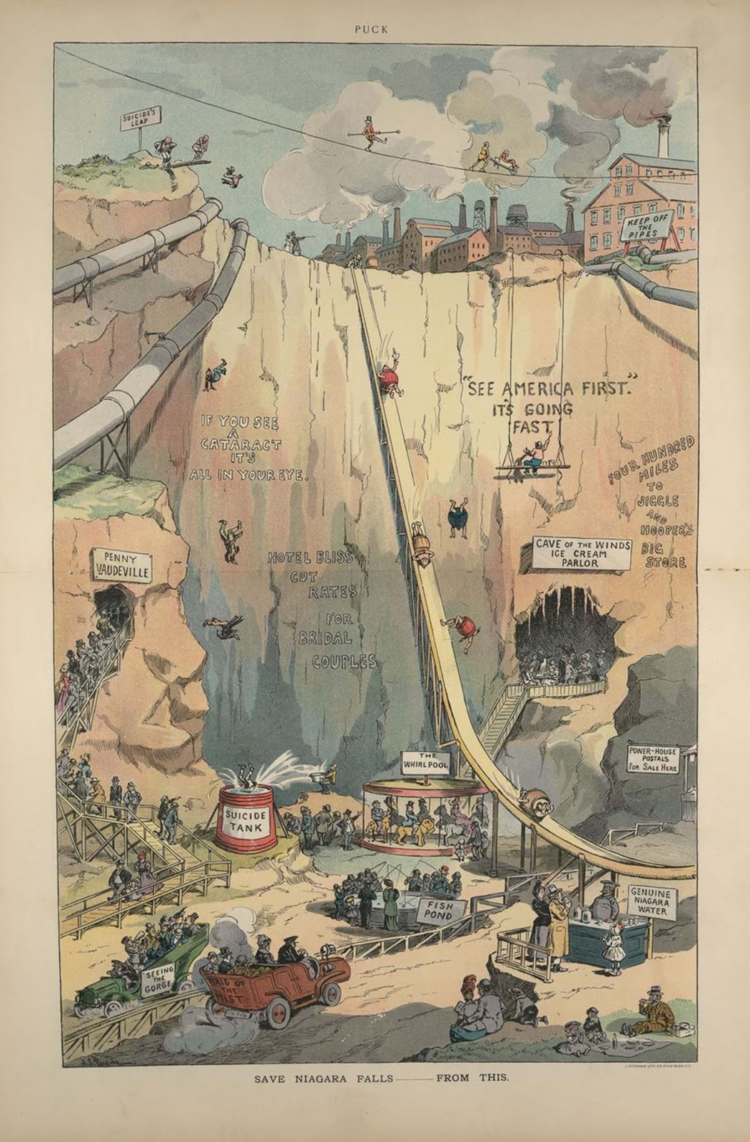 A satirical Puck illustration imagines the future of Niagara Falls. 1906.