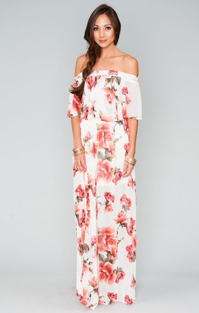 Off the shoulder floral maxi dress from Show Me Your Mumu at Fitzroy Boutique
