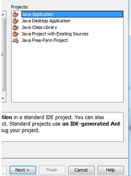 Seleccionando el tipo de proyecto java a desarrollar