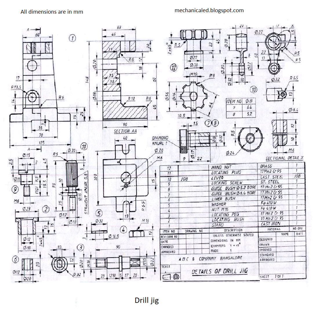 Drill Jig Assembly Drawing Engineering Diagram Parts