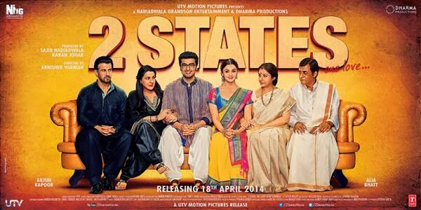 Punjabi and Tamilian families Krish and Ananya  in Arjun Kapoor and Alia Bhatt starer 2 States movie poster