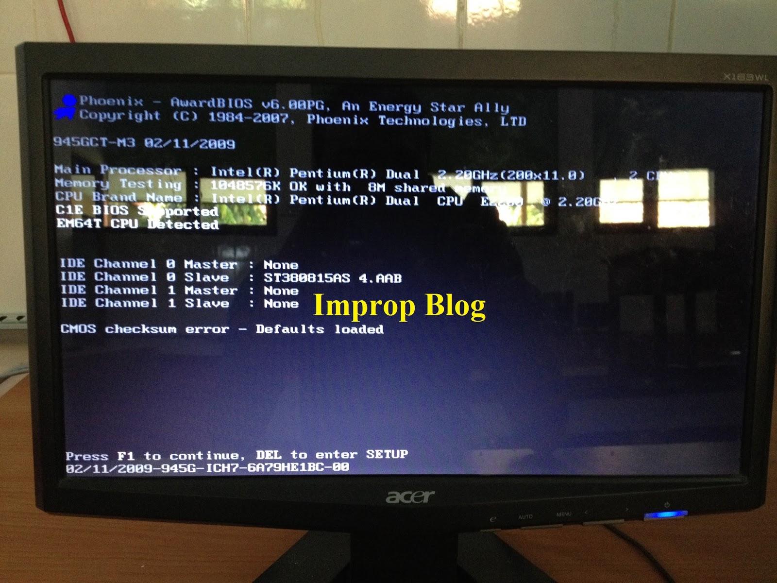 Disini Admin akan berbagi sedikit pengalaman bagaimana cara untuk mengatasi komputer yang selalu keluar perintah press F1 to continue saat akan booting atau
