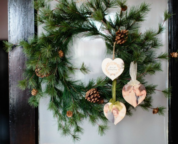 PhotoBoard ornaments hung on a Christmas wreath featured on Walking on Sunshine.