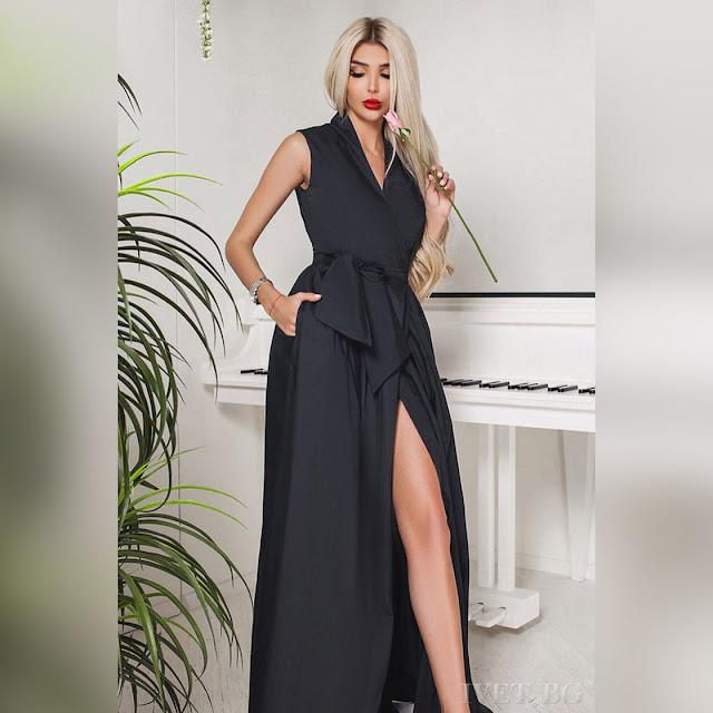 Αμάνικο μάξι μαύρο φόρεμα DERONA BLACK