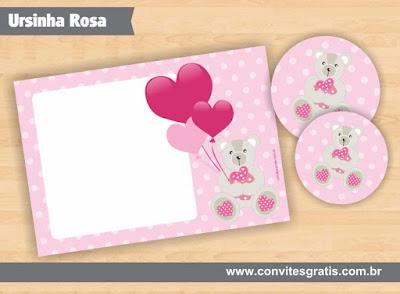 convite ursinha rosa grátis imprimir