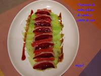 Carpaccio de melón y juliana de sandia con jamón de pato