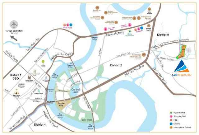 Vị trí GEM Riverside và đường đi đến