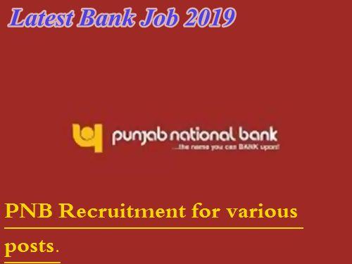 Bank Jobs 2019: Latest Govt Bank Job Vacancy   PNB Recruitment 2019.