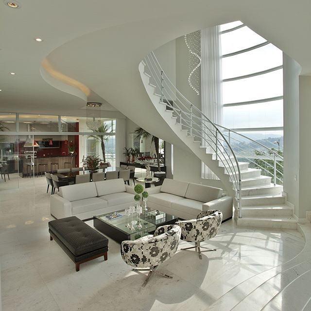 Sala De Estar Com Escada ~  Casa Clean Consultoria de Decoração e 3D Sala de Estar com Escada