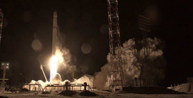 Zenit rocket launches with AngoSat-1 satellite. Credit: Roscosmos