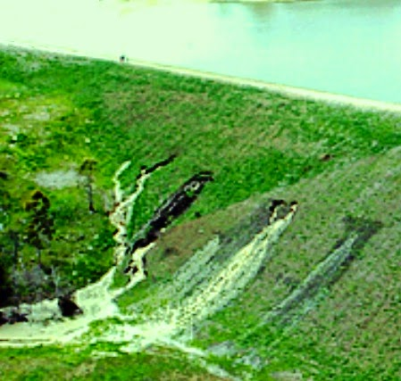 Backward erosion in dam