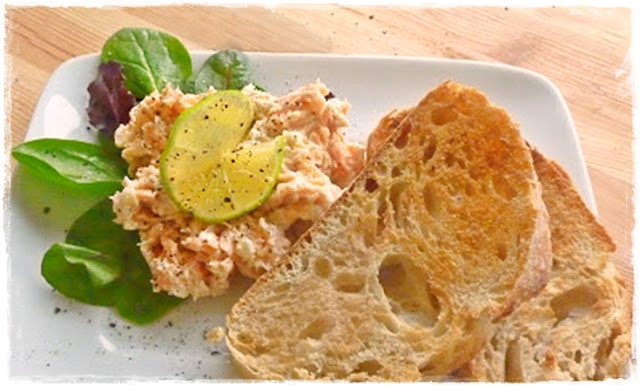 salmon pate made with Boursin and roasted garlic