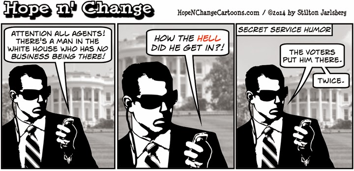 obama, obama jokes, political, humor, cartoon, hope n' change, hope and change, stilton jarlsberg, white house, intruder, secret service