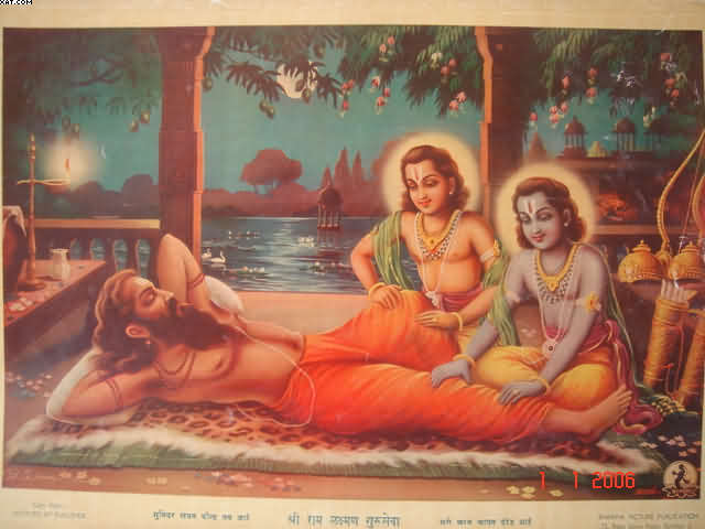 Ram and Lakshman perform guru-seva by pressing Vishvamitra's feet and legs