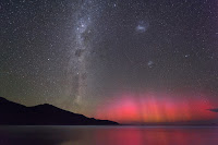 Aurora, Milky Way Galaxy, Large Magellanic Cloud Galaxy and Small Magellanic Cloud Galaxy seen over Wilsons Promontory National Park