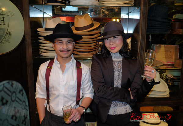 Johnel with Strand Hatter customer and blogger Vivienne of vivalaViv. The Strand Arcade, Evening with our Designers. Photography by Kent Johnson.