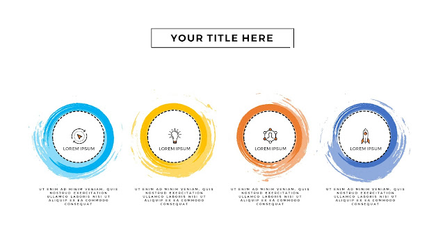 Infographic 4 Circular Brush Style Banners in PowerPoint Presentation with Different Colors