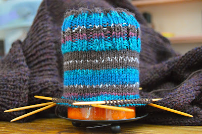 knitting North Pole socks and Autumn in Alta poncho