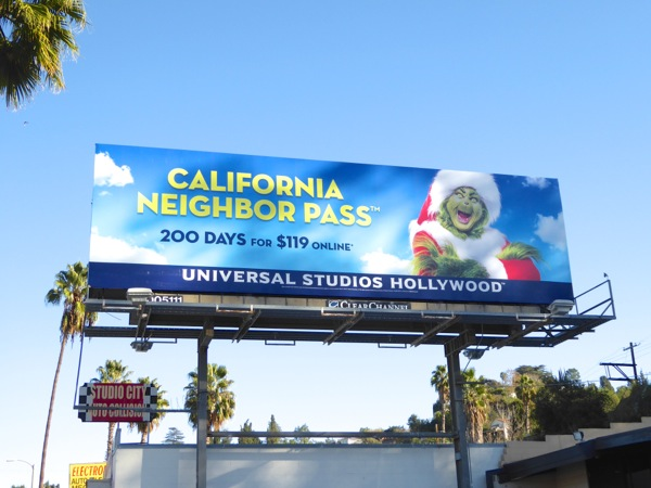 Universal Studios California Neighbor Pass Grinch billboard