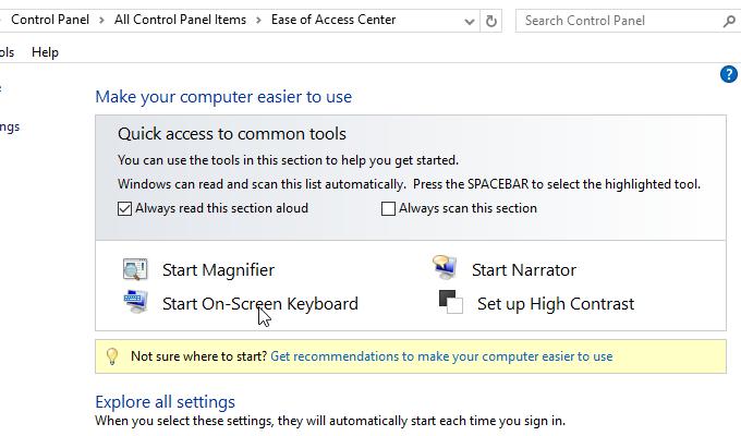 cách mở bàn phím ảo trong windows