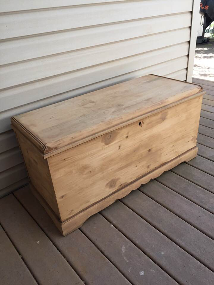 Cedar Chest stripped down to bare wood.