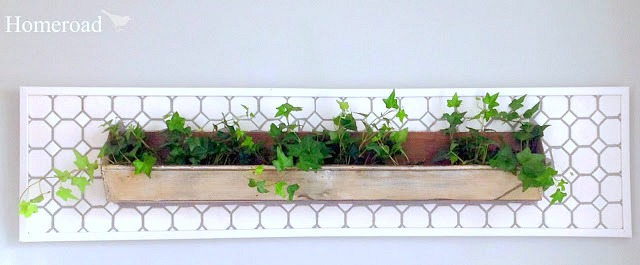 DIY wall garden from a repurposed chicken feeder