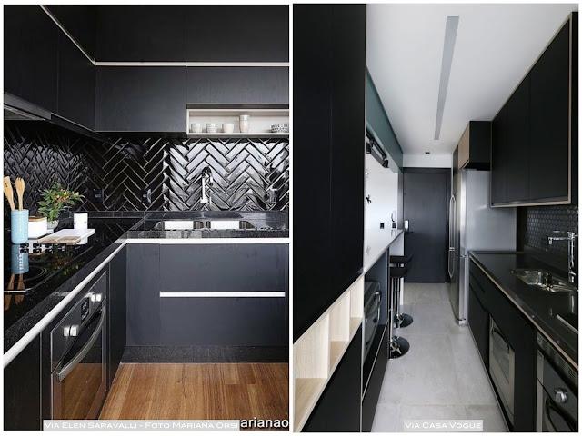 armário preto para cozinha