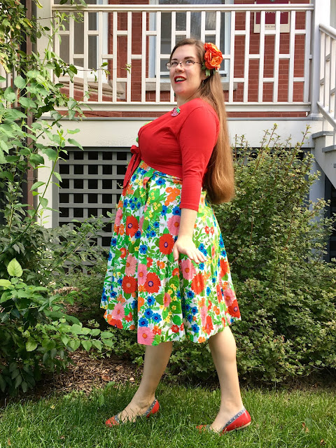 green floral 1960s vintage dress