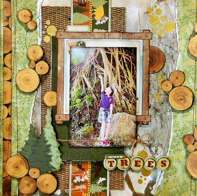 Nestled In The Trees Layout by Irene Tan using BoBunny Take A Hike collection