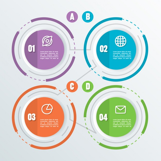 Four circular options with icons for infographics Free Vector
