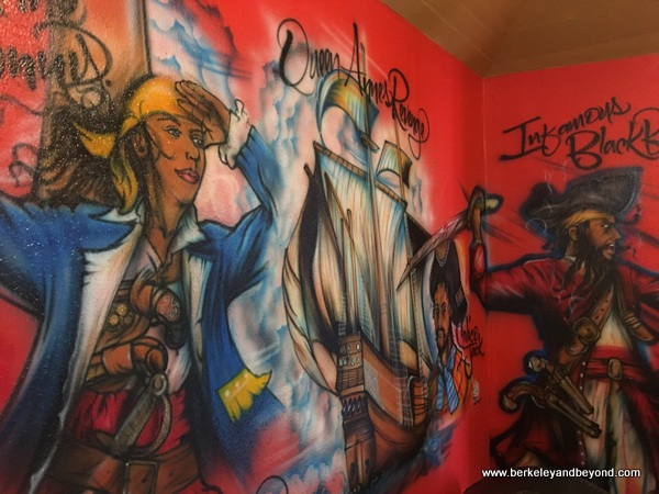 colorful pirate mural at The Heritage Museum of The Bahamas at Graycliff in Nassau, Bahamas