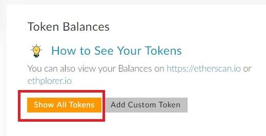 mostrar todos los tokens en my ether wallet