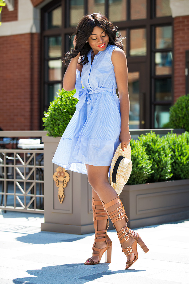 Chicwish Summer Bliss Blue Stripes Flare Dress, schutz gladiator sandals,  lack of color hat, www.jadore-fashion.com
