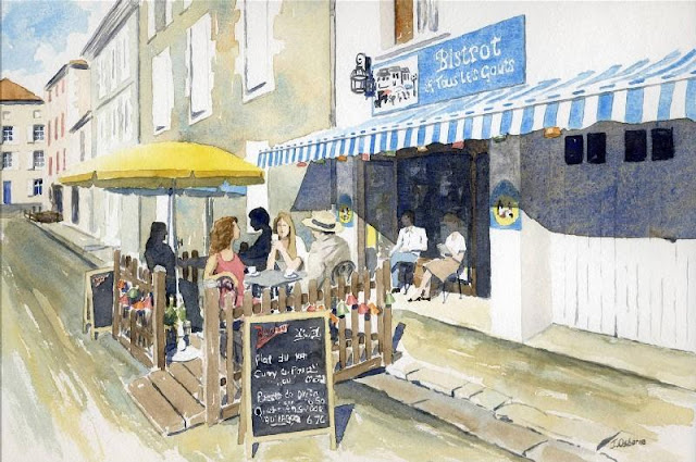 watercolour painting commission - Café, Montbron, France