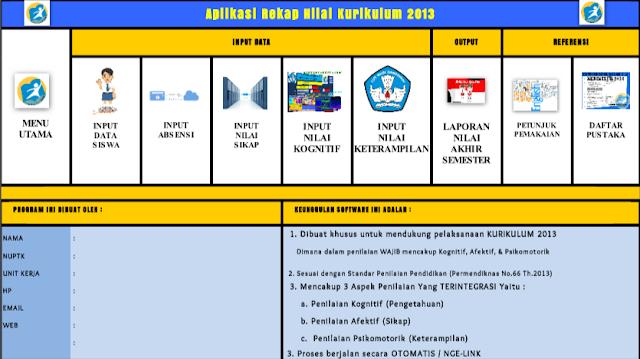 Aplikasi Excel Rekap Nilai Kurikulum 2013 SD SMP SMA SMK