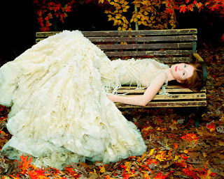 Julianne Moore Laid On Bench In White Dress