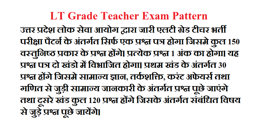 UPPSC LT Grade Teacher Exam Pattern