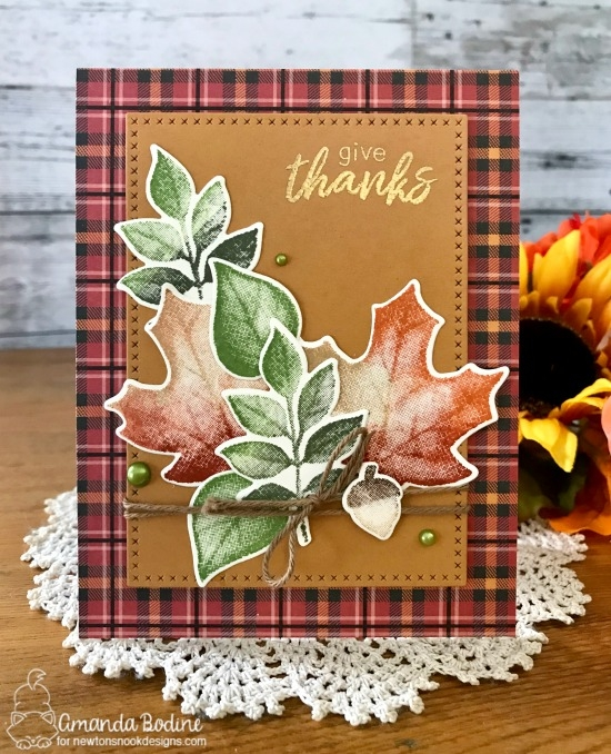 Give Thanks Leaf Card by Amanda Bodine | Shades of Autumn Stamp Set by Newton's Nook Designs #newtonsnook #handmade