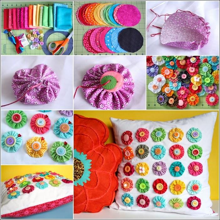 Multi Colored Yo-Yo Pillow Tutorial 1