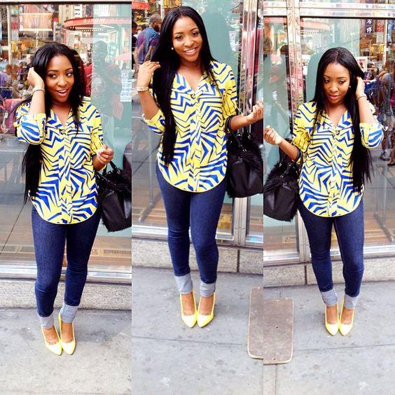 Beautiful Ankara Top On Jeans For Smart Ladies