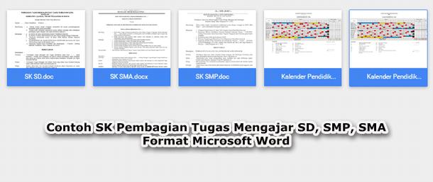 Contoh SK Pembagian Tugas Mengajar SD, SMP, SMA Format Microsoft Word