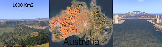 1600平方キロメートルのAustraliaマップ MOD