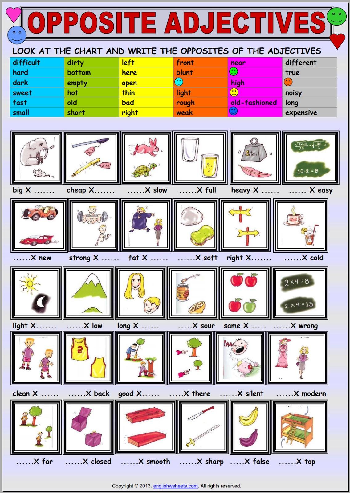 Home School Opposite Adjectives 1