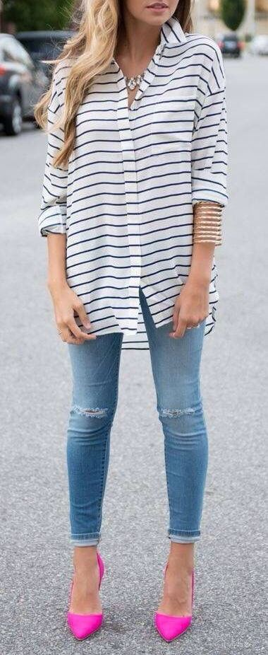 street style outfit idea: shirt + rips + heels